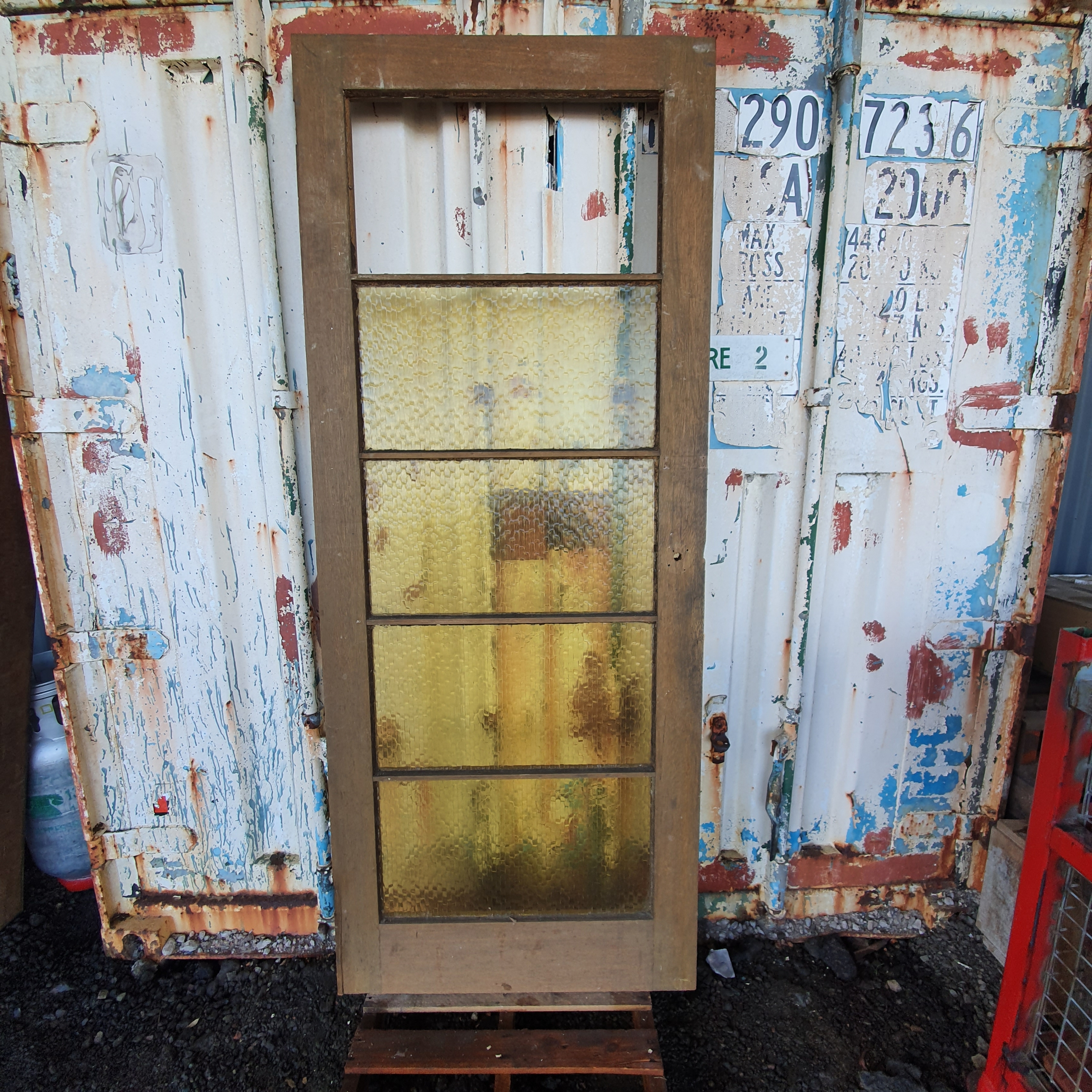 EXTERNAL DOOR W/ 5 PANEL YELLOW PATTERN GLASS ~ Top Glass Panel Missing~ Varnished Both Sides ~ 815w x 2020h  - $30.00
