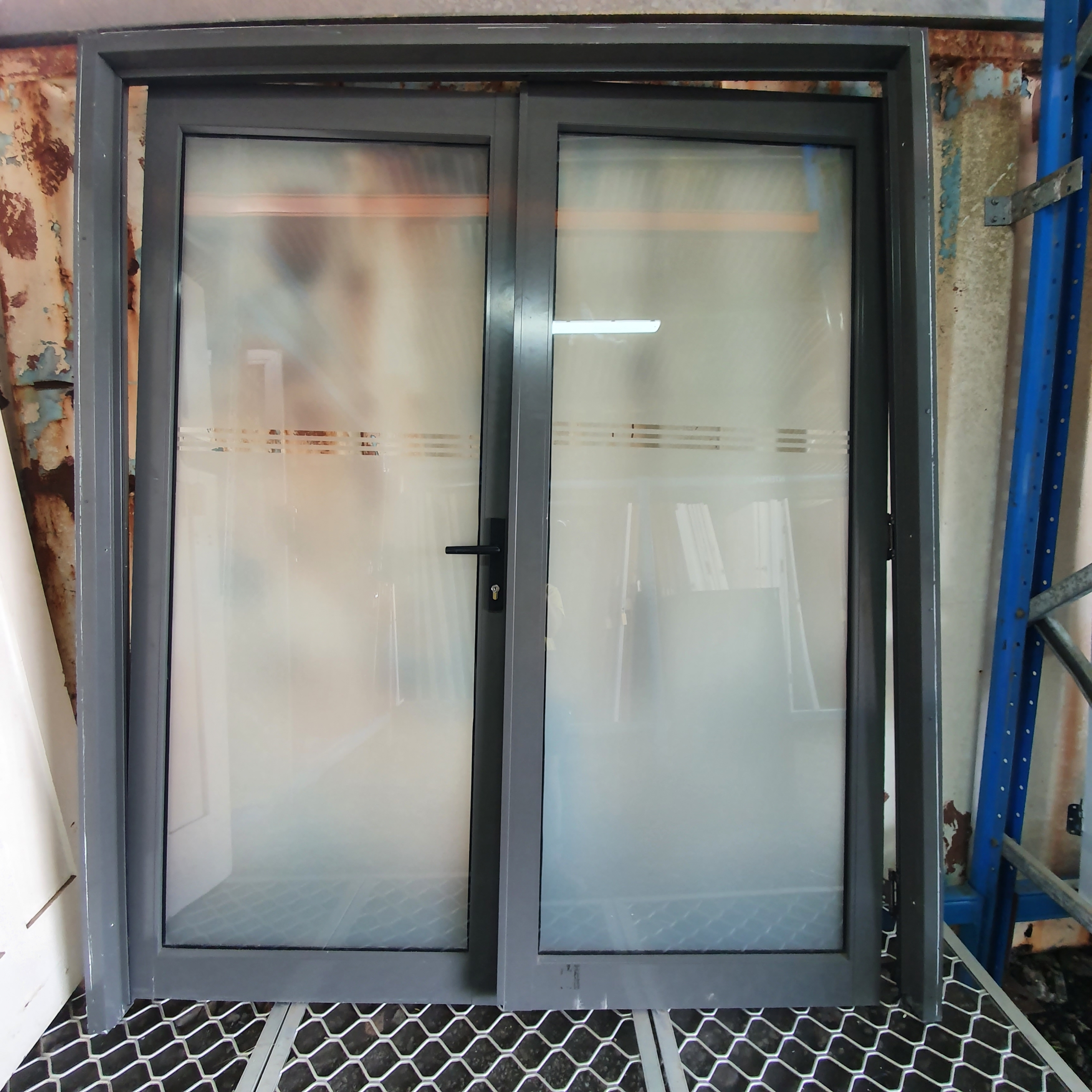 ALUMINIUM FRENCH DOOR SET ~ Soft Charcoal Colour ~ Comes with 3 Sides of Frame ~ 1720w x 2100h - $200.00