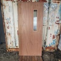 NEW - MAPLE FINISH SOLID DOOR W/ SLIM CLEAR GLASS PANEL - 920w x 2040h - RRP $785.00 - Sale Price $150.00